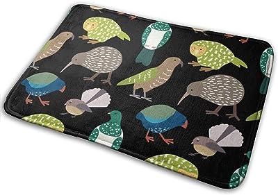 """Cute New Zealand Birds Black Flannel Floor Rug Indoor/Front Door Mats Home Decor Rubber Non Slip Backing 23.6""""(W) X 15.8""""(L)"""