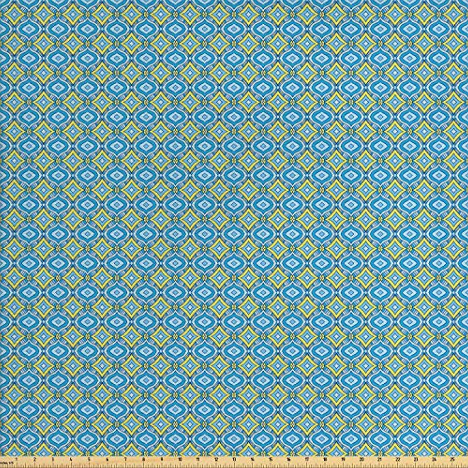 Lunarable Yellow and Blue Fabric by The Yard, Hand Drawn Abstract Ornament Rhombus Shapes Artistic Mosaic Vintage, Decorative Fabric for Upholstery and Home Accents, 1 Yard, Blue Aqua Yellow