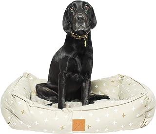 MOG & BONE Bolster Dog Bed Oatmeal Metallic Cross Lrg