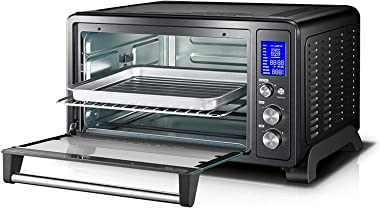 Toshiba AC25CEW-BS Digital Toaster Oven with Convection cooking and 9 Functions, 1500W, 6-Slice Bread/12-Inch Pizza, Black St