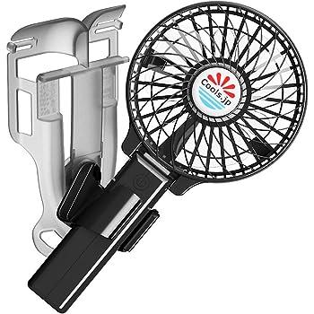 えりかけ扇風機 (服の中へ送風)ポケット掛け・手持ち扇風機 USB充電池式 ハンズフリー ハンディファン 携帯扇風機 (4インチファン, 黒)