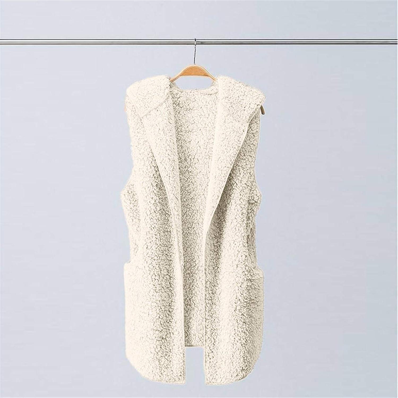 Outwear Vest Women Hoodie Waistcoat Sherpa Jacket Faux Fur Coat Winter Warm Plush Sleeveless Zip Up Tops Fuzzy Fleece Jackets