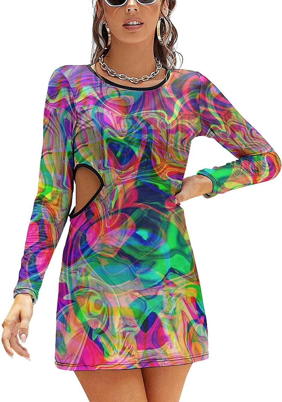 NiYoung Long Sleeve Dress for Women Hollow Waist Slim Fit Wedding Guest Dress