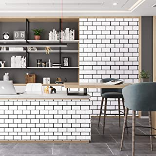 "Caltero Black White Brick Wallpaper 17.7"" x 32.8Ft White Trellis Wallpaper Peel and Stick Tile Effect Brick Wallpaper Self..."