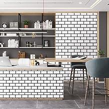 "Caltero Black White Brick Contact Paper 17.7"" x 32.8Ft WhiteTrellisWallpaper Peel and Stick Subway Tile Effect Brick Wa..."