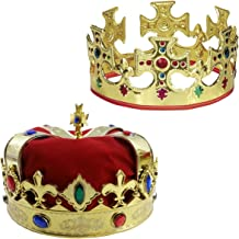 Adjustable Gold Crown and a Red Jeweld Crown By Funny Party Hats