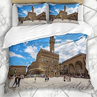 Ahawoso Duvet Cover Sets Queen/Full 90x90 Blue Medici Italy Florence Firenze July 28 View Palazzo Medieval Vecchio Della Summer Gallery Antique Soft Microfiber Decorative Bedding with 2 Pillow Shams