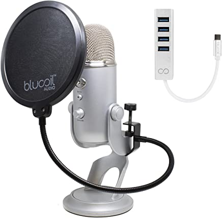 Pop Filter Windscreen Blucoil Mini USB Type-C Hub with 4 USB Ports and 5x Cable Ties Audio-Technica AT2020USB+ Cardioid Condenser Microphone Bundle with Samson SR350 Over-Ear Closed-Back Headphones