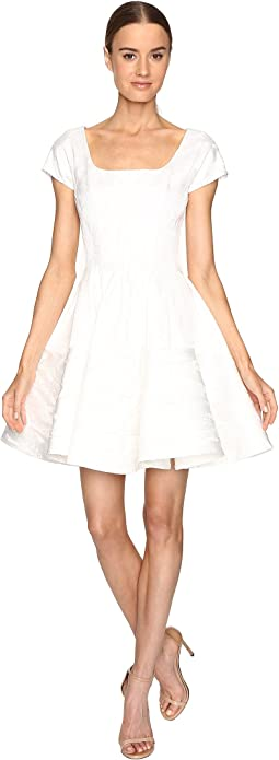 Zac Posen - Party Jacquard Short Sleeve Fit and Flare Dress