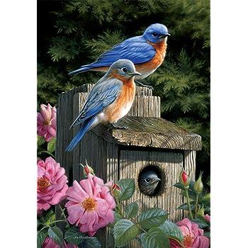 "12.""x 18/"" WELCOME BLUEBIRD GARDEN Flag"