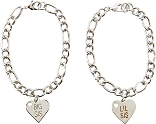 FROG SAC Big Sister Little Sister Bracelet Set of 2 - Silver Chain Bracelets with Stainless Steel Engraved Lil Sis Big Sis Heart Charms - Great Sisters Gift Idea - Quality Fashion Jewelry for Women