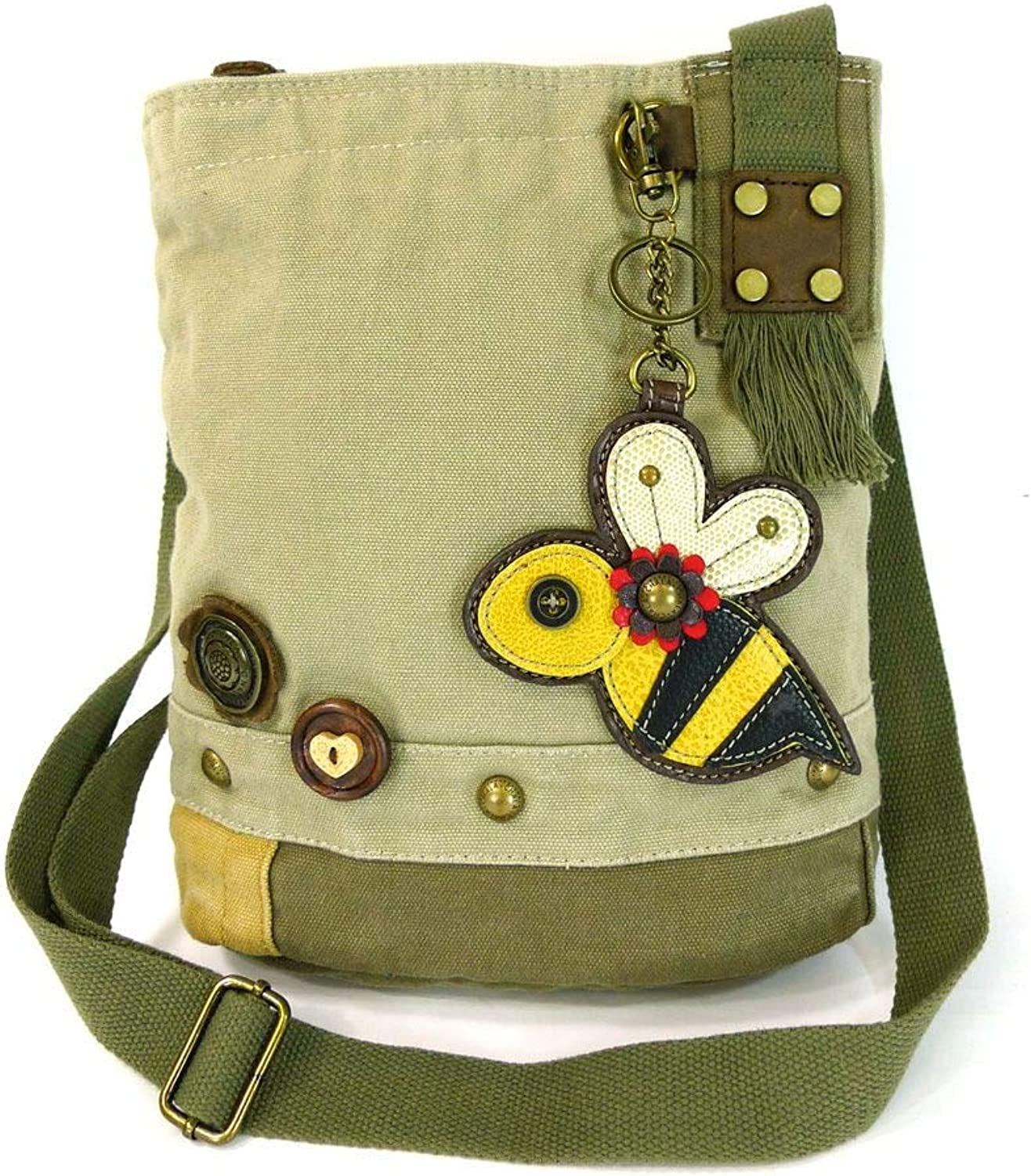 Chala Patch Crossbody Bag Canvas gift Messenger Sand Brown Coin Purse BUMBLE BEE