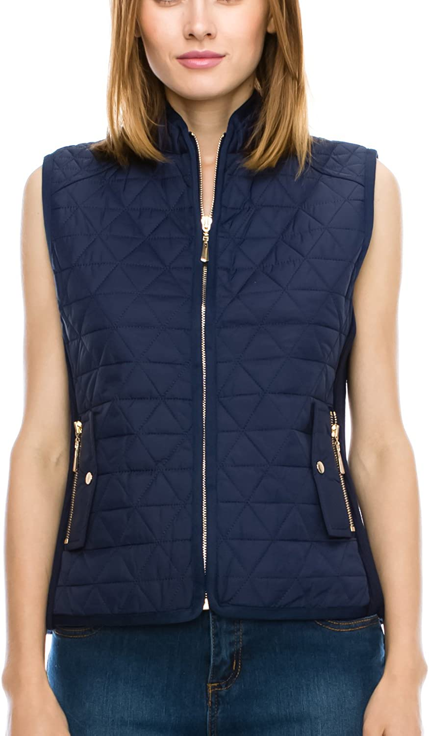 JEZEEL Women's Casual Quilted Padding Vest.(J600_Small to 4X)