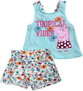 Peppa Pig Toddler Girls Outfit Blue Tropical Vibes Tank Top Shirt & Shorts
