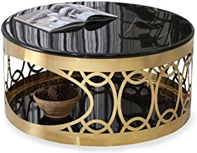 Modern Coffee Table Marble Top High Gloss Glass Bottom Black Round Side Dinner Office Home Coffee Table Gloss Living Room ...