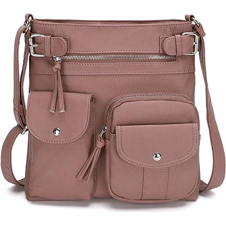 KL928 Damen Umhängetaschen Weiches Leder Henkeltaschen Handtasche Geldbörse Crossover Taschen für Mädchen oder Frauen (pink-größer)