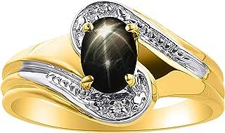 Anillo de zafiro de diamante y estrella negra en plata chapada en oro amarillo - Anillo de piedra natal de color