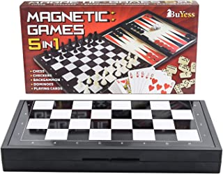 "5 in 1 Magnetic Travel Chess, Checkers, Dominoes, Backgammon, Cards Set 9.8"" x 9.8"" Mini Board Games"