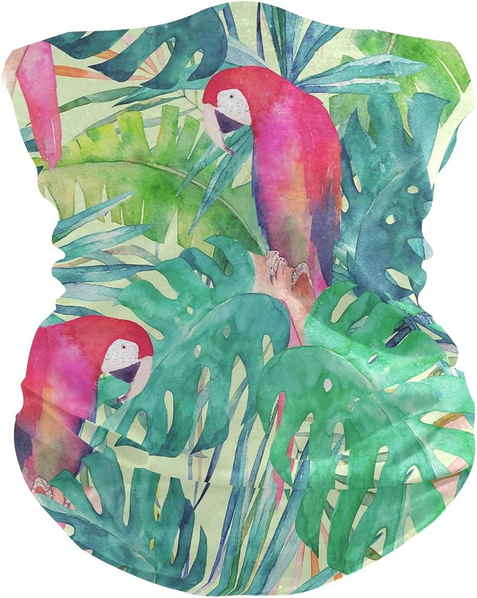 Bandanas for Women Face, Neck Gaiter Mask Headband for Men Women Mask Watercolor Parrot