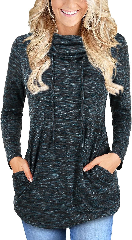 Faddare Women's Cofy Cowl Neck Space Dye Activewear Sweatshirt with Pockets