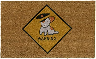 "Rubber-Cal ""Beware of Dog Doormats"" Dog Welcome Mat, 18 x 30-Inch"