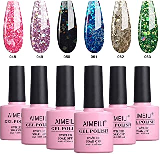 AIMEILI Glitter Gel Nail Polish Soak Off UV LED Gel Nail Lacquer Combo Color Set Of 6pcs X 10ml - Kit Set 10