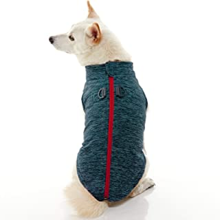 Gooby - Zip Up Fleece Vest, Fleece Jacket Sweater with Zipper Closure and Leash Ring, Turquoise Wash, Large