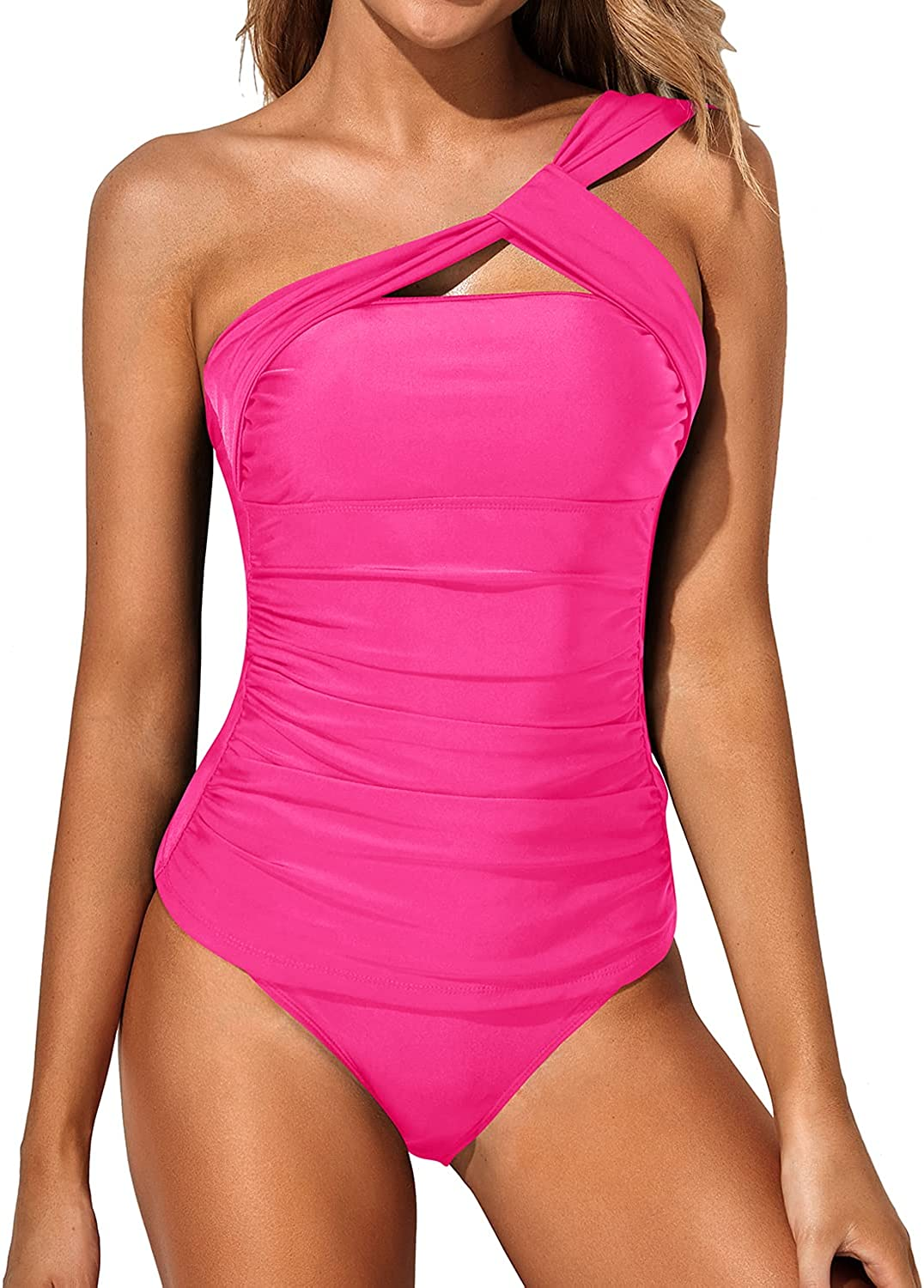 Tempt Me Tankini Bathing Suits for Women Ruched One Shoulder Tankini Top Two Piece Swimsuits