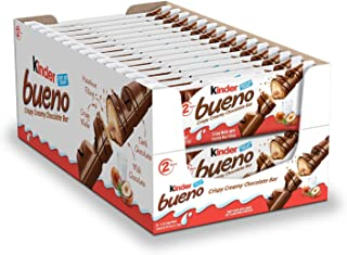 Kinder Bueno Milk Chocolate and Hazelnut Cream Candy Bar, Perfect Easter Basket Stuffers for Kids, 30 Packs, 2 Individuall...