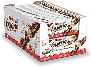 Kinder Bueno Milk Chocolate and Hazelnut Cream Candy Bars, Bulk Halloween Treats, 30 Packs, 2 Individually Wrapped 1.5 Oz ...