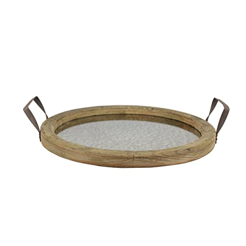 73e1bd8c59 Stonebriar Round Brown Wood Serving Tray with Metal Handles and Distressed  Mirror, Rustic Butler Serving