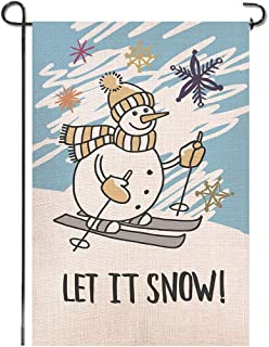 Shmbada Premium Welcome Winter Let It Snow Burlap Double Sided Garden Flag, Shows Cute Snowmen Skiing, Seasonal Holiday Outdoor Christmas Decorative Banner for Home Yard Lawn Patio, 12.5 X 18.5 Inch