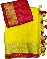 Anaya Women's Bhagalpuri Linen Saree with Blouse Piece (ANE0893_Yellow)