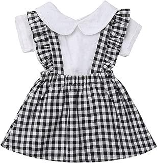 Toddler Infant Baby Girl Peter Pan Collar White Shirt Plaid Ruffles Suspenders Skirt Fall Winter Spring Litter Girl Dress