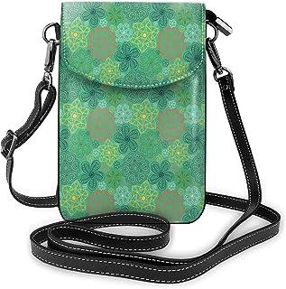 Jiger Women Small Cell Phone Purse Crossbody,Mandala Hippie Boho Floral Swirls Detailed Pattern With Emerald Green Backdro...