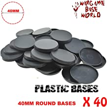 (Set of 40) - 40mm Round Plastic Bases for Gaming Miniatures and Table Games