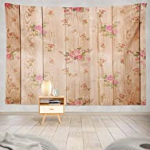 Yararg Teal Tapestry, Wall Hanging Tapestry Digital Scrapbook Light Brown Wood and Flowers Shabby Wall Tapestry Dorm Home Decor Bedroom Living Room in 80X60 Inch(Digital Scrapbook)