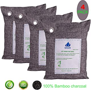 SAGIN Air Purifying Bag (4-Pack 4x200g) Bamboo Charcoal Odor Eliminator Bags,Activated Charcoal Natural Air Purifier,Car Odor Absorber, Home Air Fresheners ,Closet Dehumidifier Shoe Odor Eliminator