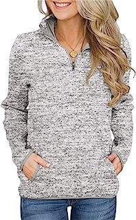 Women's Women Quarter Zip Casual Pullovers Lightweight Fleece Sweatshirts with Pockets