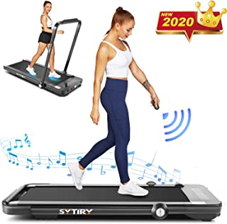 FUNMILY Folding Treadmill,Under Desk Treadmill for Home,2 In1 Running&Walking&Jogging Portable Machine with Bluetooth Speaker&Remote Control,Built-in 5 Modes&12 Programs,Installation-Free