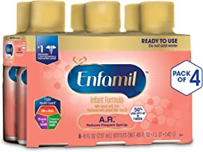 Enfamil A.R. Ready to Feed Spit Up Baby Formula Milk, 8 fluid ounce (24 count) - Omega 3 DHA, Probiotics, Immune & Brain Support