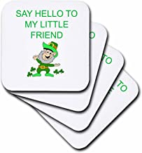 3dRose cst_172417_1 Say Hello to My Little Friend, Picture of Leprechaun, Green Lettering-Soft Coasters, Set of 4