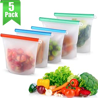 MOICO Reusable Silicone Storage Bags, 5 Pack Airtight Seal Freezer Bags, Leakproof Food Bags for Vegetable, Lunch, Snack, Fruit, Sandwich, Cereal, Dishwasher Safe, BPA Free & FDA Approved
