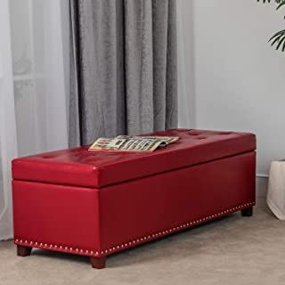 """Joveco 47"""" Storage Ottoman PU Leather Tufted Bench Foot Rest (Red)"""