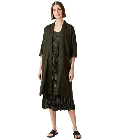 Eileen Fisher Knee Length High Collar Jacket with Belt in Organic Linen