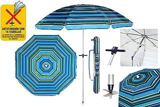 SYM Pincho Sombrilla Playa 2m Aluminio UPF+50 99% UV+ Espiral con Punta de Aluminio Reforzado 16 Varillas-antitorsion' (Azul Verde)