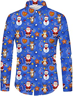 IZHH Mens Christmas Series T Shirt Long Sleeve Tops Blouse Button Down Shirt Tee