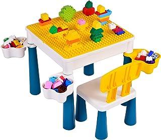papasbox Mesa de construcción de Actividades para niños Amarilla, fácil de Usar y Limpiar. con Mesa para niños y 1 Juego de sillas y 4 Cajas de Almacenamiento, Adecuado para niños de 2 años o más