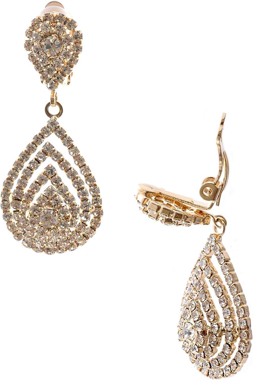 Topwholesalejewel Wedding Earrings Gold Plating Teardrop Clip On Earrings