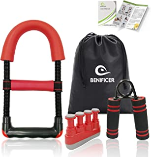 Benificer Hand Strengtheners 3 Pack Wrist Exerciser Arm Grip Workout Forearm Strengthener Finger Stretcher Home Gym Workout Equipment Increase Muscle Strength for Guitar Player